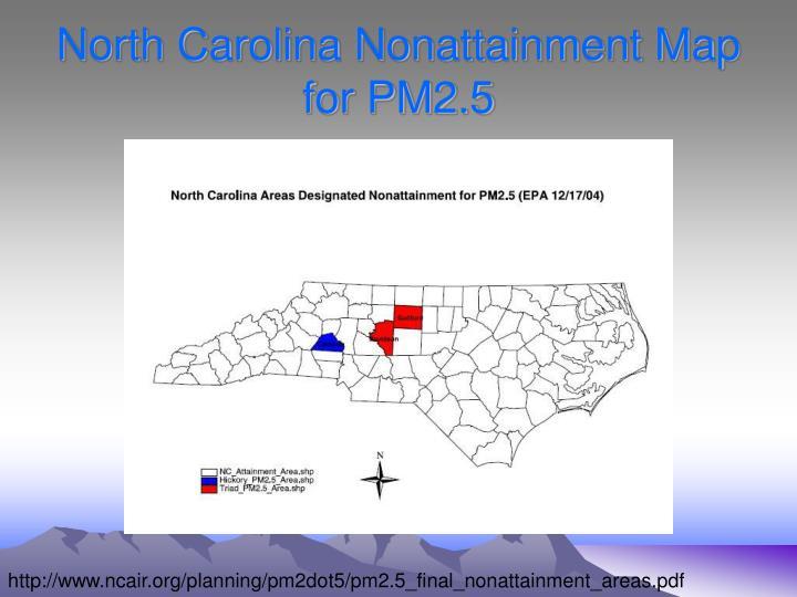 North Carolina Nonattainment Map for PM2.5