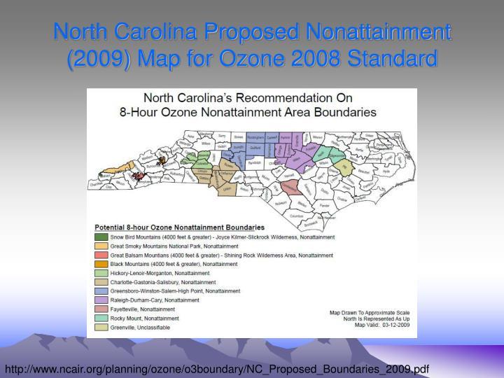 North Carolina Proposed Nonattainment (2009) Map for Ozone 2008 Standard