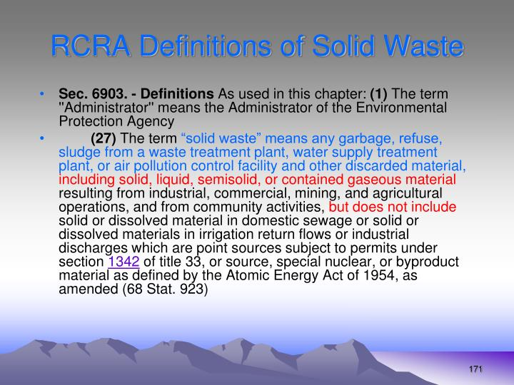 RCRA Definitions of Solid Waste