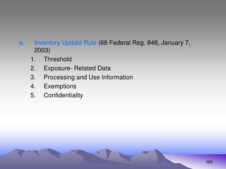 Inventory Update Rule