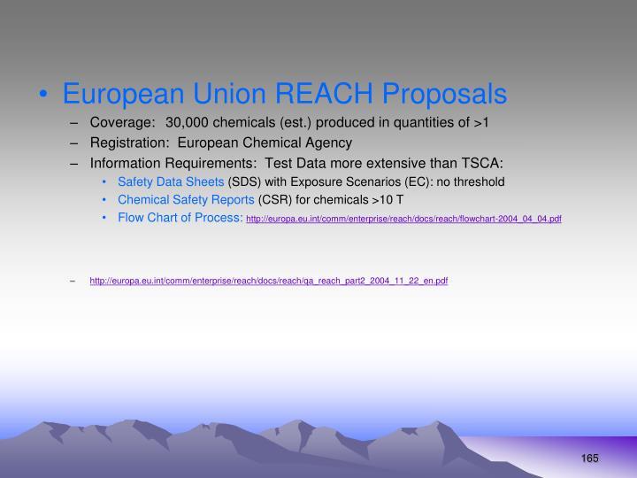 European Union REACH Proposals