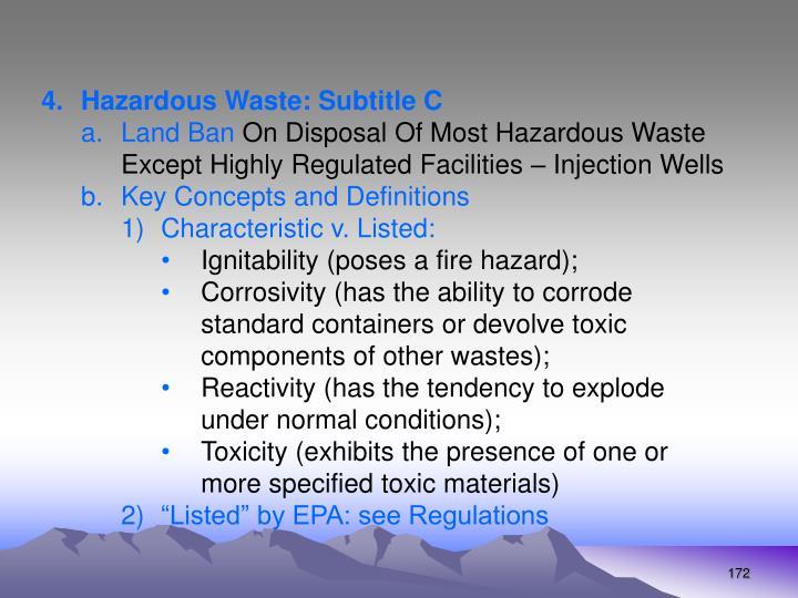 Hazardous Waste: Subtitle C