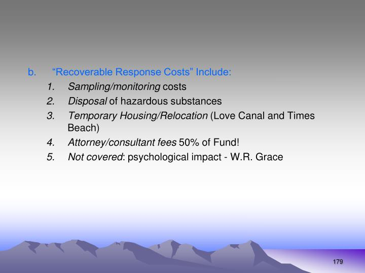 """""""Recoverable Response Costs"""" Include:"""