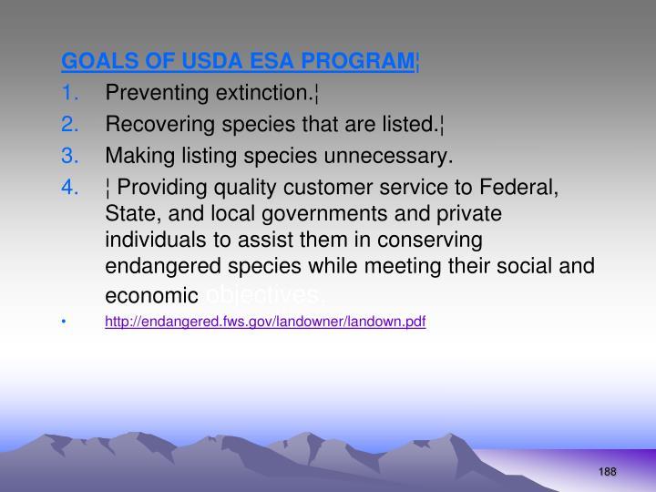 GOALS OF USDA ESA PROGRAM
