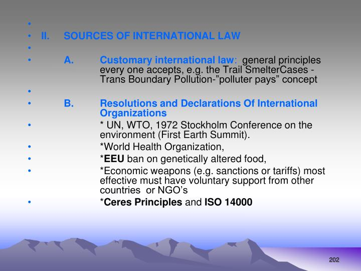 II. SOURCES OF INTERNATIONAL LAW