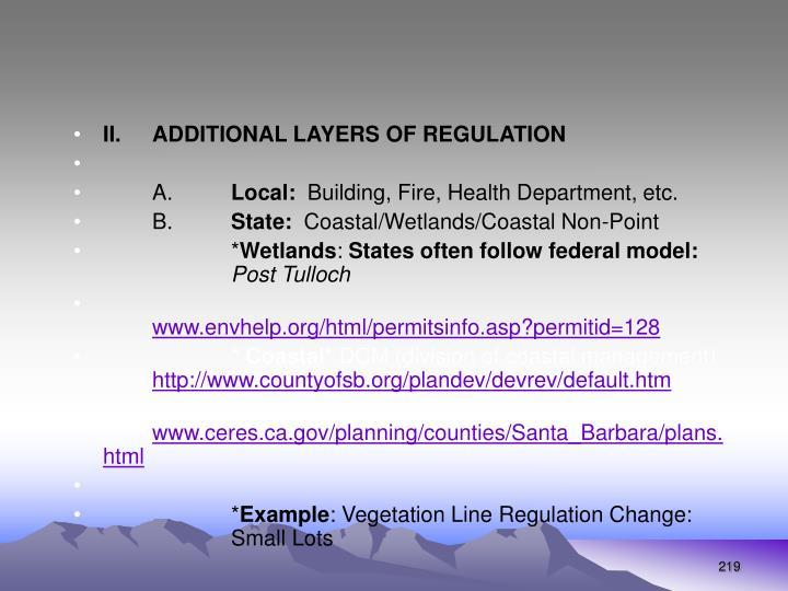II.ADDITIONAL LAYERS OF REGULATION