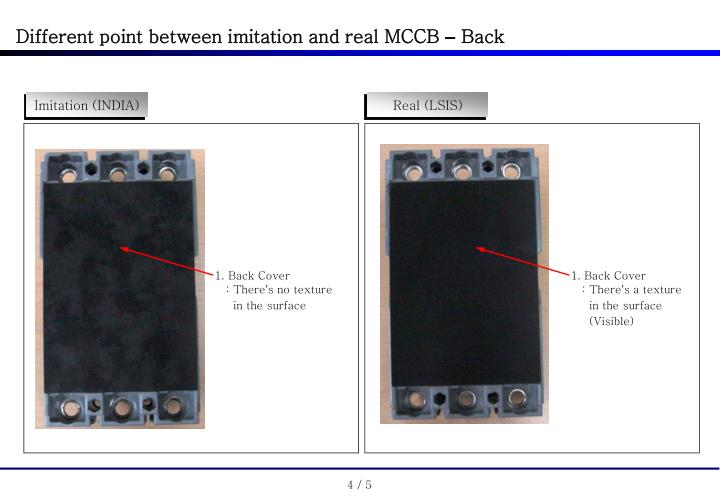 Different point between imitation and real MCCB