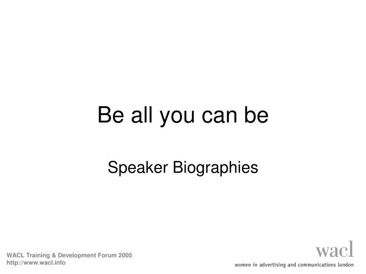 be all you can be n.