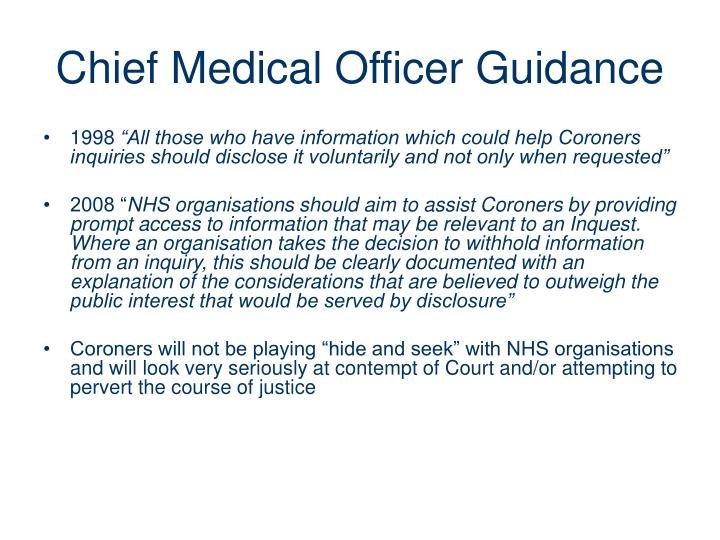 Chief Medical Officer Guidance