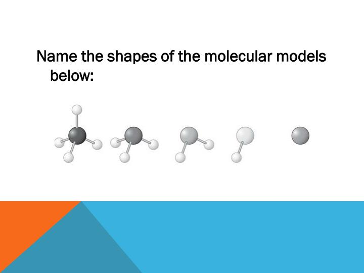 Name the shapes of the molecular models below: