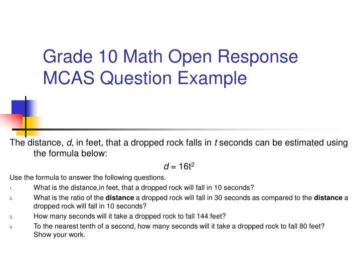 Grade 10 Math Open Response MCAS Question Example