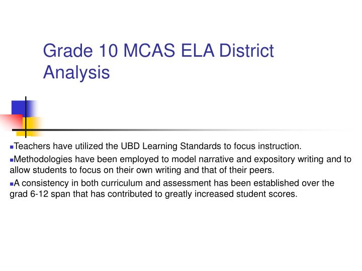 Grade 10 MCAS ELA District Analysis