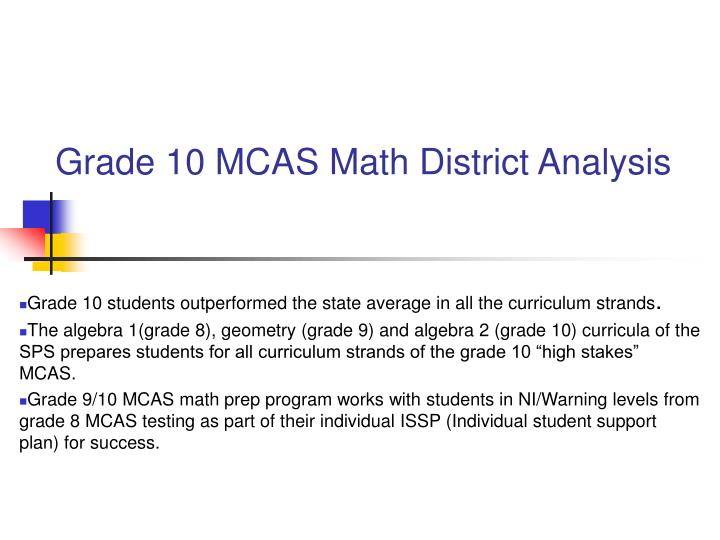 Grade 10 MCAS Math District Analysis