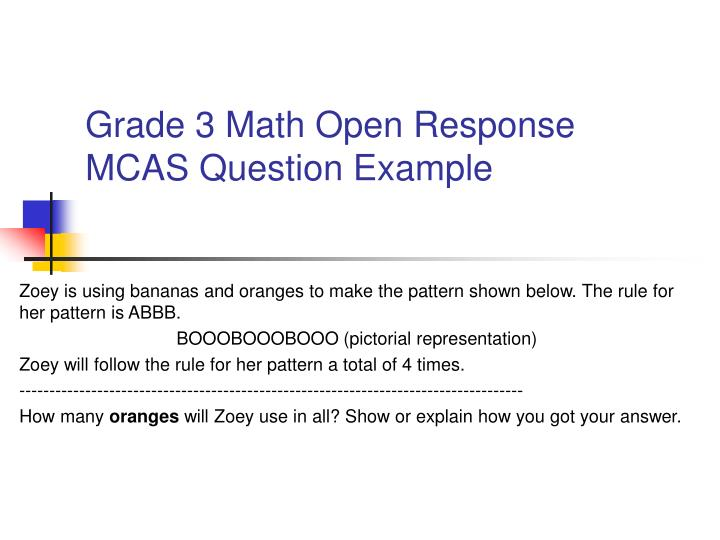 Grade 3 Math Open Response MCAS Question Example