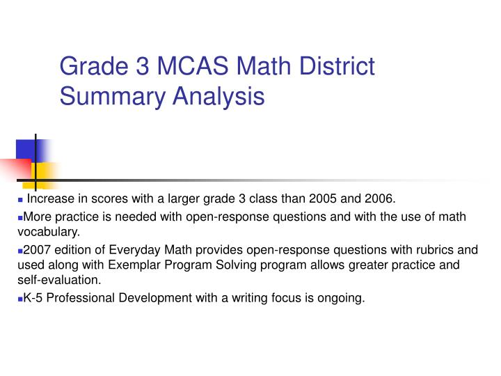 Grade 3 MCAS Math District Summary Analysis