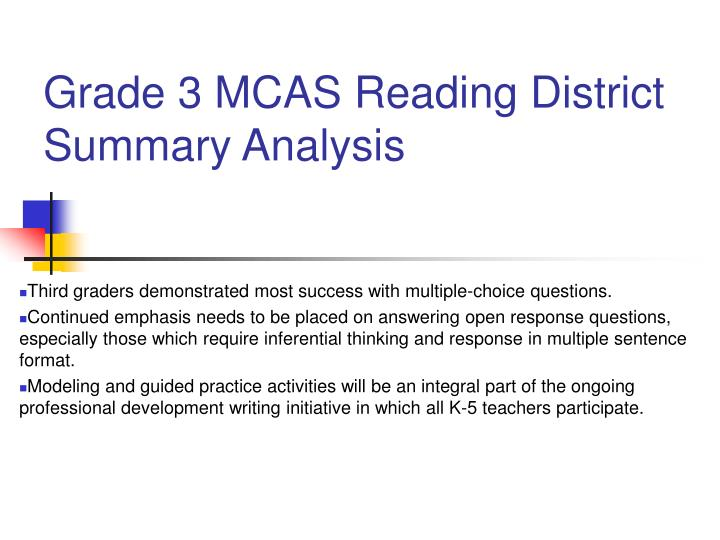 Grade 3 mcas reading district summary analysis