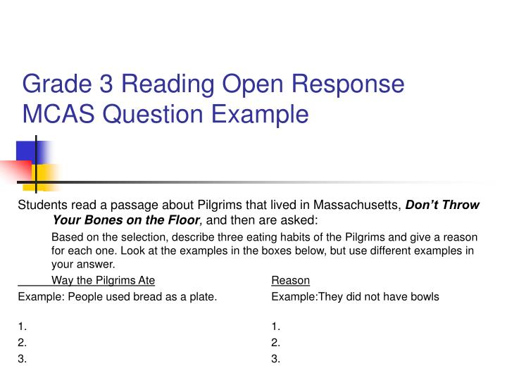 Grade 3 Reading Open Response MCAS Question Example