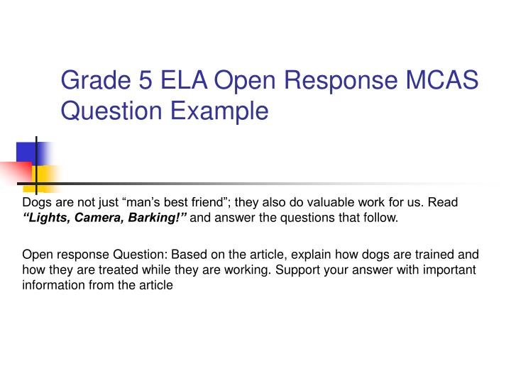 Grade 5 ELA Open Response MCAS Question Example