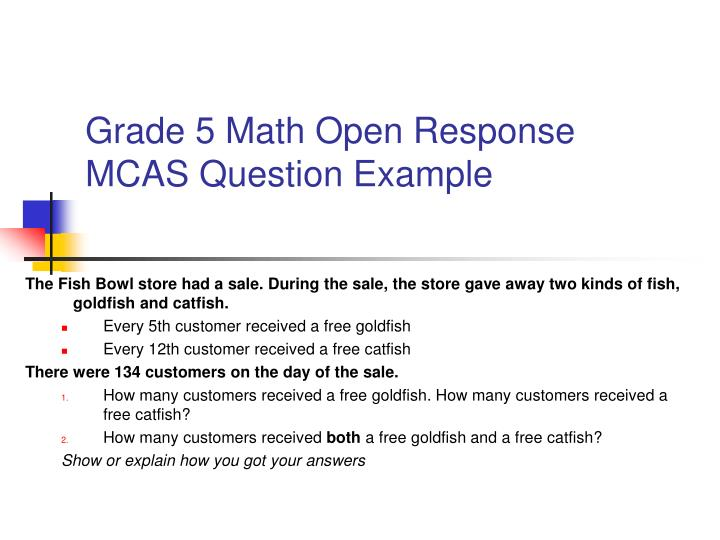 Grade 5 Math Open Response MCAS Question Example