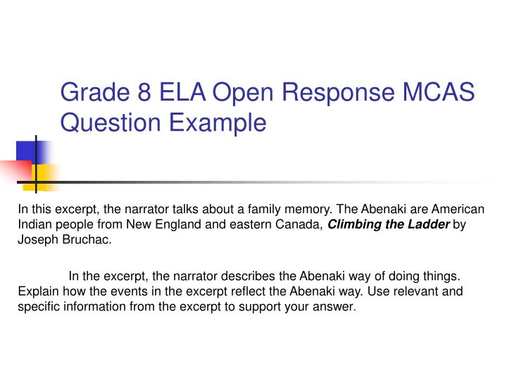 Grade 8 ELA Open Response MCAS Question Example