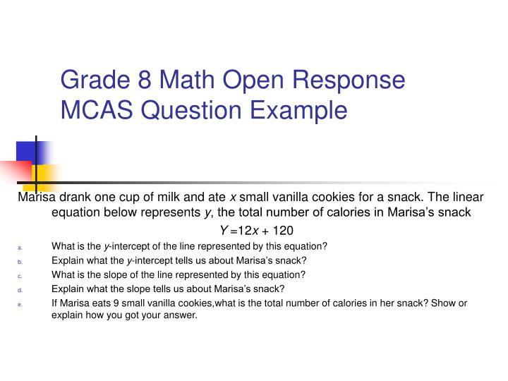 Grade 8 Math Open Response MCAS Question Example