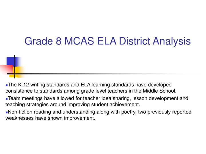 Grade 8 MCAS ELA District Analysis