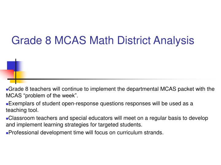 Grade 8 MCAS Math District Analysis