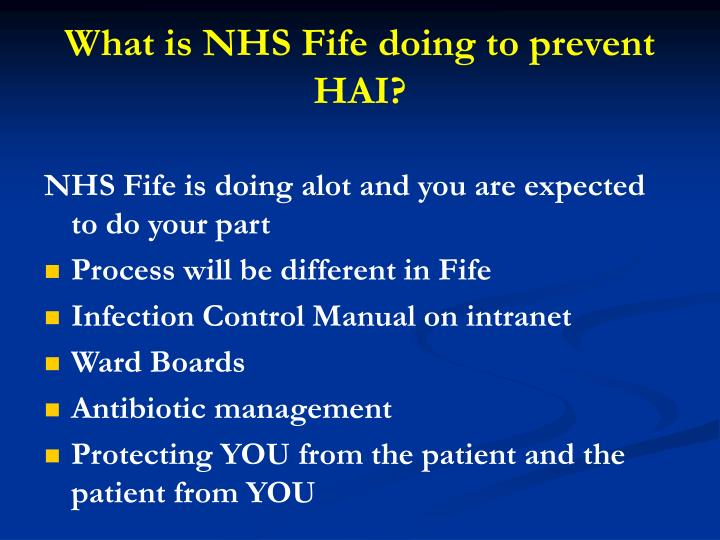 What is nhs fife doing to prevent hai