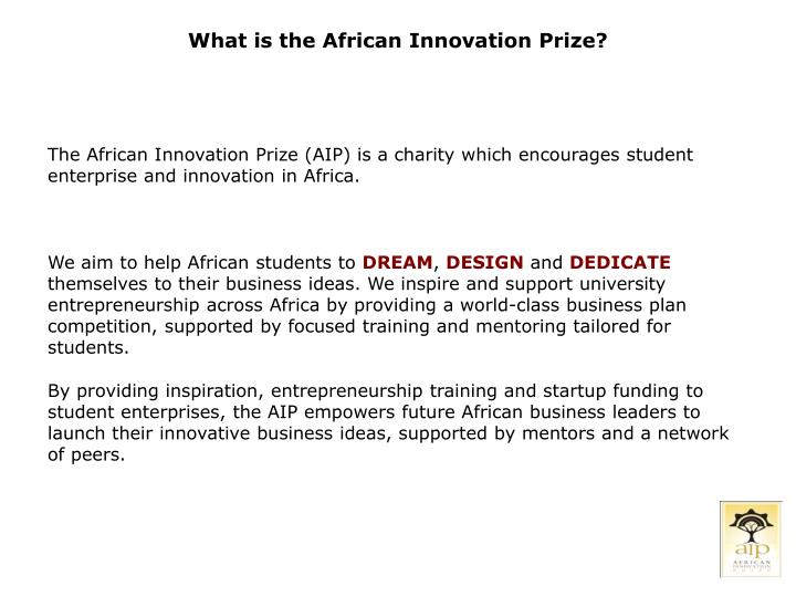 What is the African Innovation Prize?
