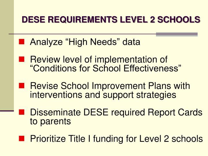 DESE REQUIREMENTS LEVEL 2 SCHOOLS