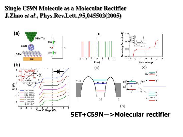 Single C59N Molecule as a Molecular Rectifier