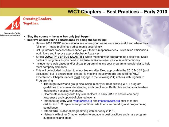 wict chapters best practices early 2010