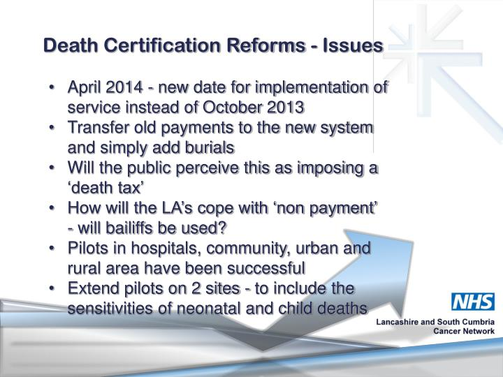 Death Certification Reforms - Issues