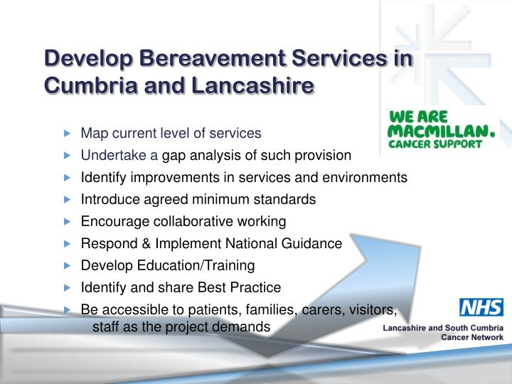 Develop Bereavement Services in Cumbria and Lancashire