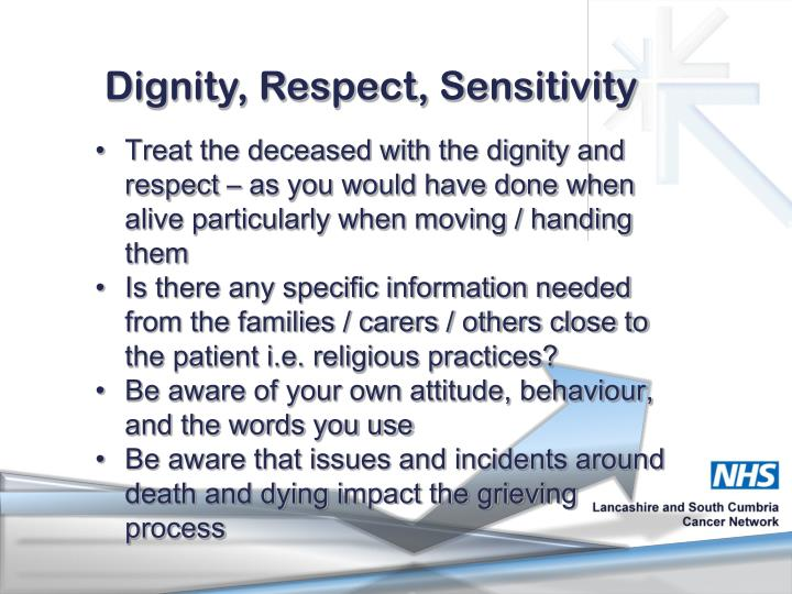 Dignity, Respect, Sensitivity