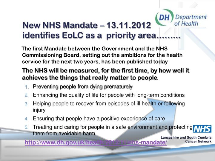 New NHS Mandate – 13.11.2012 identifies EoLC as a  priority area……...