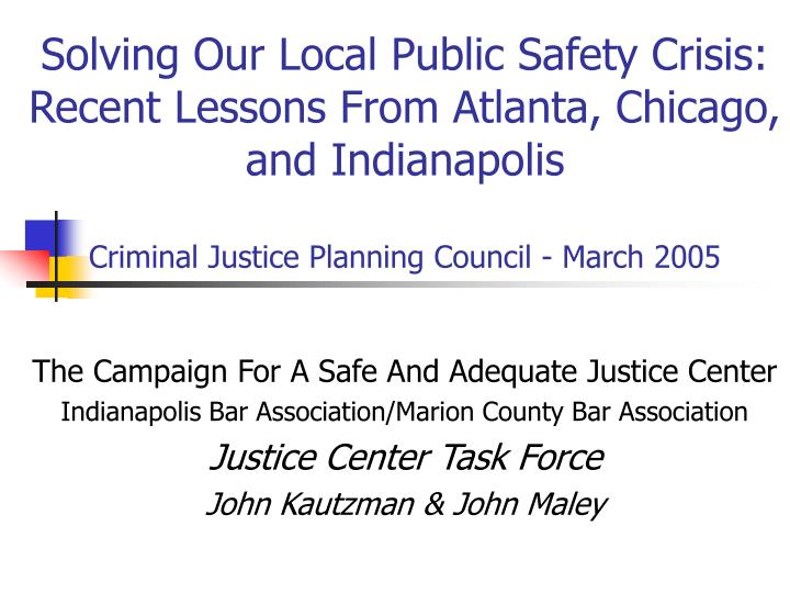Solving Our Local Public Safety Crisis: