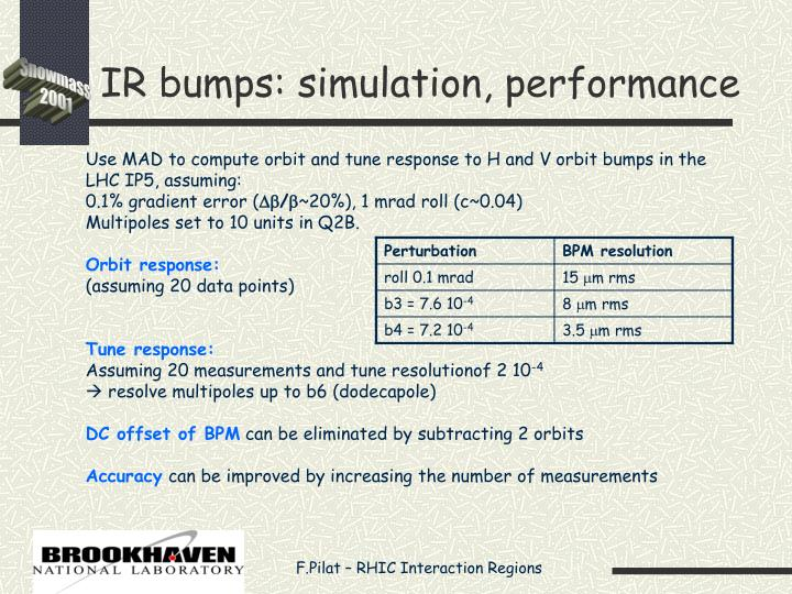 IR bumps: simulation, performance