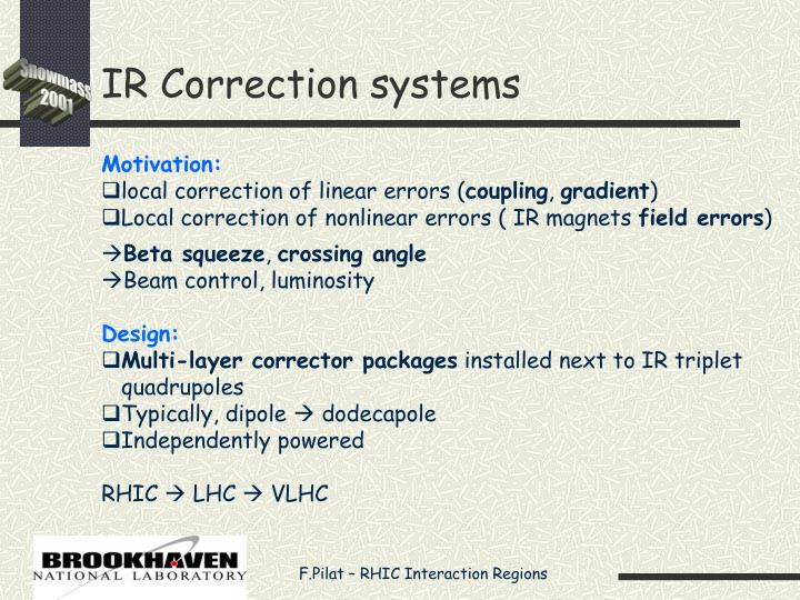 IR Correction systems