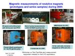 magnetic measurements of resistive magnets prototypes and series samples during 2005