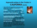 apprenticeships in the trades in california cont