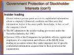 government protection of stockholder interests con t1