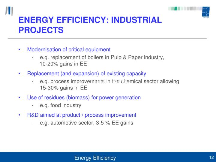 ENERGY EFFICIENCY: INDUSTRIAL PROJECTS