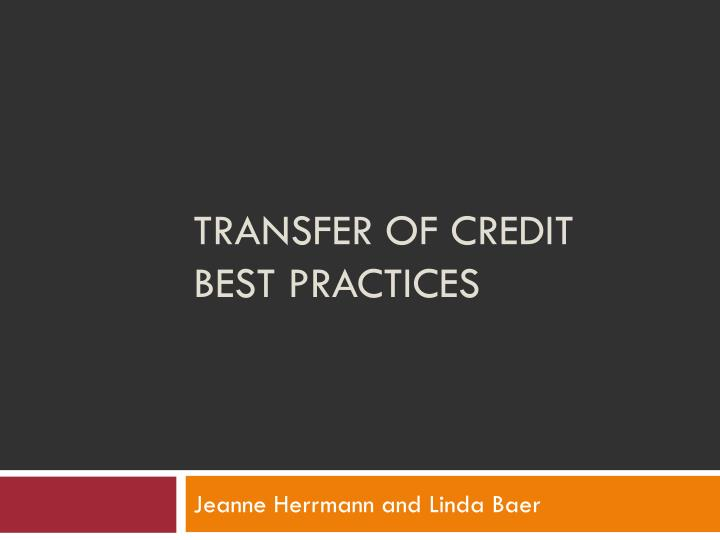 transfer of credit best practices