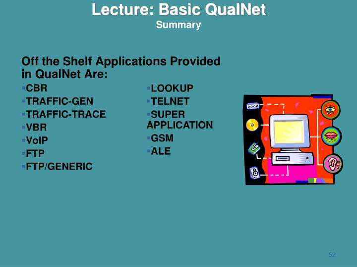 Off the Shelf Applications Provided in QualNet Are: