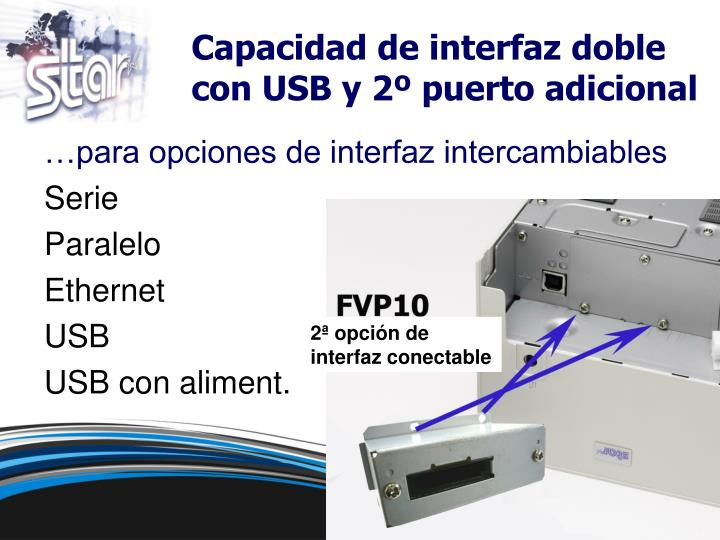 Capacidad de interfaz doble con USB y 2º puerto adicional
