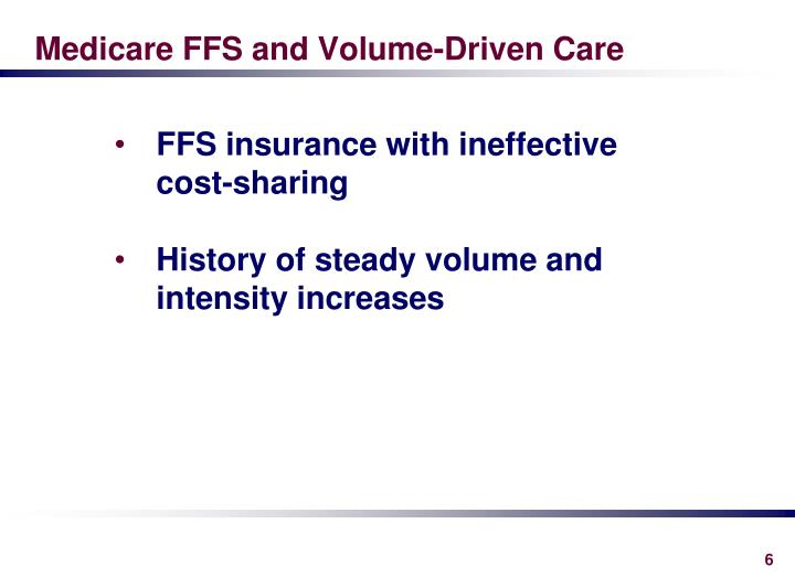 Medicare FFS and Volume-Driven Care