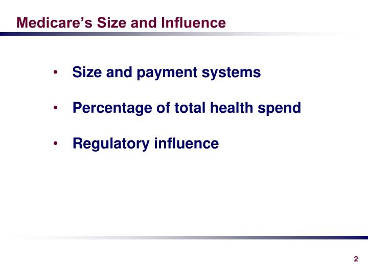 Medicare s size and influence