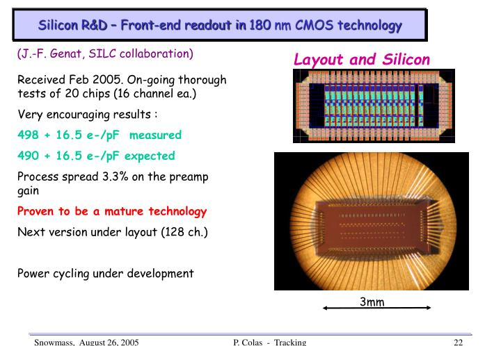 Silicon R&D – Front-end readout in 180 nm CMOS technology