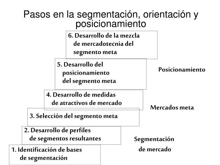 Pasos en la segmentación, orientación y posicionamiento